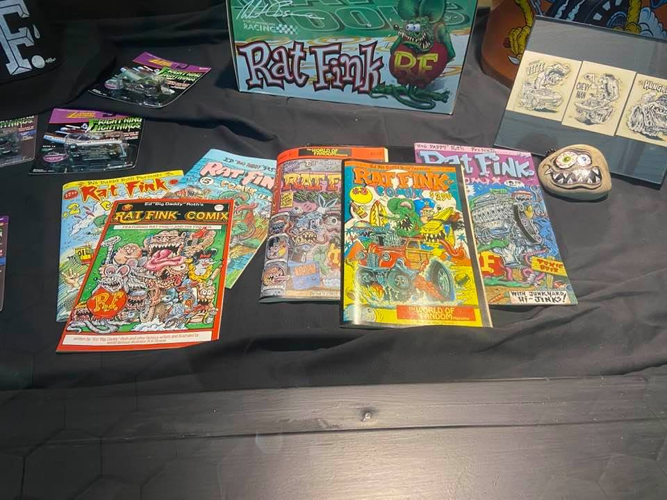 Ratfink comic books at the Ed Roth exhibit at the Corvette Museum.